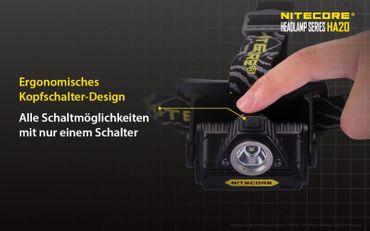 Nitecore HA20  LED Kopflampe für AA Batterien – Bild 9