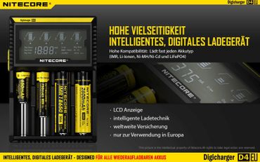 Nitecore Digicharger D4EU Ladegerät für 4 Akkus Li-Ionen oder Ni-Mh mit Digitalanzeige - EU Version – Bild 2