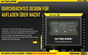 Nitecore Digicharger D2EU Ladegerät für 2 Akkus Li-Ionen oder Ni-Mh mit Digitalanzeige -EU Version – Bild 7