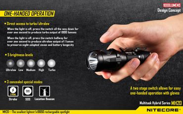 Nitecore Multitask Hybrid MH20W NW neutral white XM-L2 LED Handthrower aufladbar – Bild 5