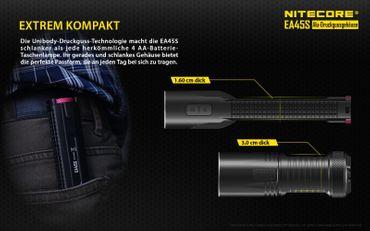 NiteCore EA45S XP-L Hi V3 LED Taschenlampe für AA Batterien mit 1000 Lumen – Bild 7