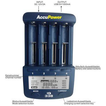 AccuPower Universal IQ338 Ladegerät mit USB-Ausgang Li-Ion/Ni-Cd/Ni-MH - EU Version – Bild 2