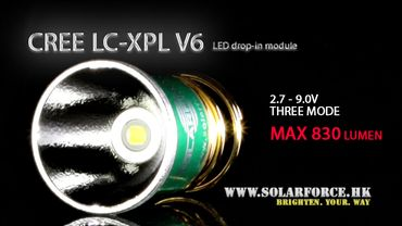 Solarforce LC XP-L dropin V6, 3 modes, 2.7 - 9V High -> Medium -> Low