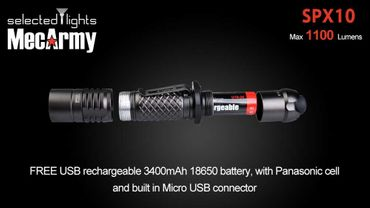 selected-lights MecArmy Tactical flashlight SPX10 mit einzigartigem 360 grad Schalter – Bild 3