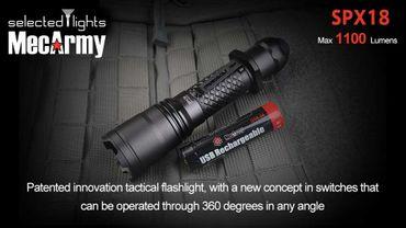 selected-lights MecArmy Tactical flashlight SPX18 mit einzigartigem 360 grad Schalter – Bild 3