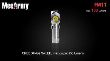 selected-lights MecArmy FM11 Edelstahl Winkellampe mit 130 Lumen für 10180er Akku -wiederaufladbar- – Bild 1