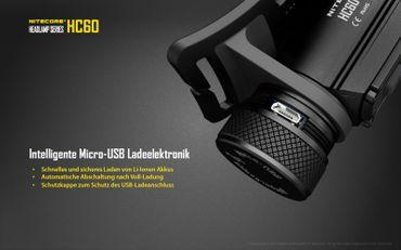 Nitecore HC60W 1000 XM-L2 LED Kopflampe aufladbar für 18650er Akku -neutral white – Bild 2