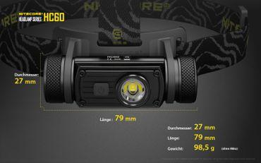 Nitecore HC60W 1000 XM-L2 LED Kopflampe aufladbar für 18650er Akku -neutral white – Bild 11