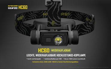 Nitecore HC60 1000 XM-L2 LED Kopflampe aufladbar für 18650er Akku – Bild 2