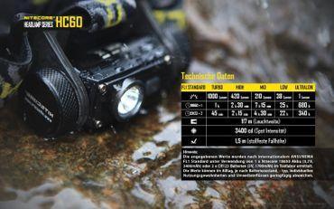 Nitecore HC60 1000 XM-L2 LED Kopflampe aufladbar für 18650er Akku – Bild 9