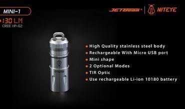 Niteye Mini-1 USB LED Akku Lampe bis 130 Lumen HERZ Geschenkverpackung – Bild 3