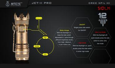 Niteye Jet II Pro 510 BC Lumen die Selbstverteidigungs Lampe sehr edel aus Berylliumkupfer – Bild 3