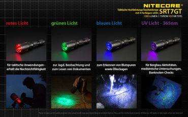 NiteCore SRT7GT Revenger XP-L HI V3 LED Lampe mit SmartRing und Multicolor und UV- LED – Bild 5