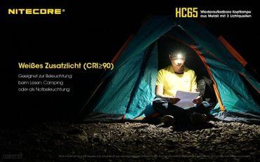 Nitecore HC65 1000 XM-L2 LED Kopflampe HCRI LED und rote LED aufladbar – Bild 3