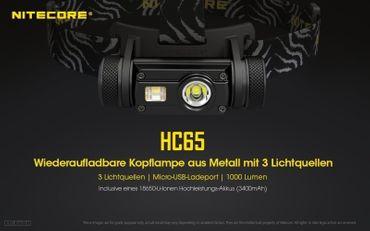 Nitecore HC65 1000 XM-L2 LED Kopflampe HCRI LED und rote LED aufladbar – Bild 10