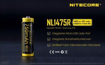 Nitecore Li-Ion Akku Typ 14500 - 750 mAh - NL1475R micro USB aufladbar – Bild 2