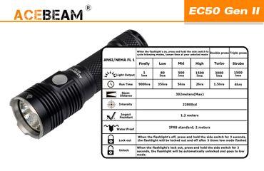 Acebeam EC50 GEN III CREE XHP70.2 CW 6000K mit 26650 Akku – Bild 5