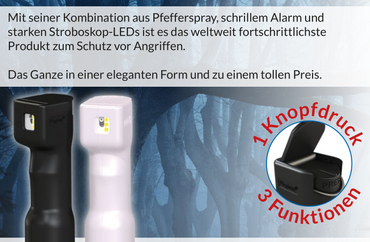 Plegium Combo Pepper Spray Pfefferspray Strobe Alarm Tierabwehrspray – Bild 7