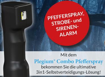Plegium Combo Pepper Spray Pfefferspray Strobe Alarm Tierabwehrspray – Bild 4