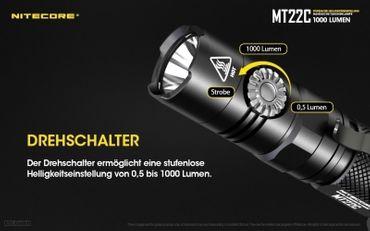 NiteCore MT22C CREE XP-L HD V6 LED 0,5 bis 1000 Lumen - Rotary Switch – Bild 2