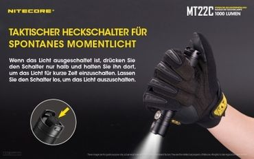 NiteCore MT22C CREE XP-L HD V6 LED 0,5 bis 1000 Lumen - Rotary Switch – Bild 4