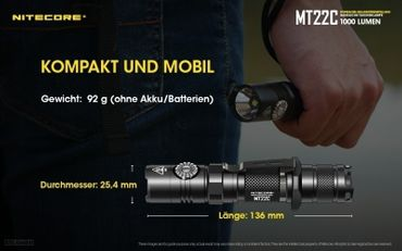 NiteCore MT22C CREE XP-L HD V6 LED 0,5 bis 1000 Lumen - Rotary Switch – Bild 5
