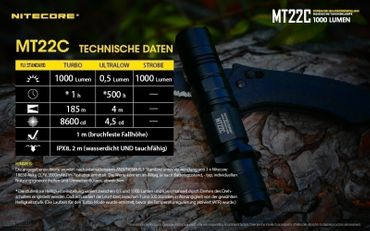 NiteCore MT22C CREE XP-L HD V6 LED 0,5 bis 1000 Lumen - Rotary Switch – Bild 10