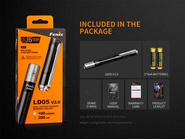 FENIX LD05 V2.0 EDC mit UV LIGHT Penlight Taschenlampe  – Bild 9