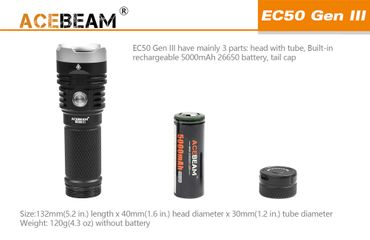 Acebeam EC50 GEN ⅡI CREE XHP70.2 NW mit 26650 Akku 3850 Lumen – Bild 5