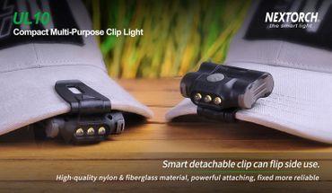Nextorch UL10 - LED- Cliplampe mit  3 Stufen weißem Licht für Kappen, Molle, Rucksäcke, Koppel, Gürtel – Bild 5