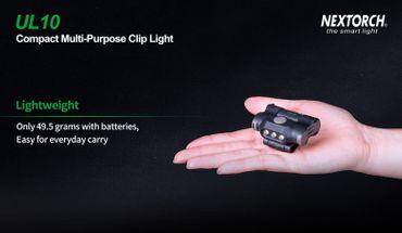Nextorch UL10 - LED- Cliplampe mit  3 Stufen weißem Licht für Kappen, Molle, Rucksäcke, Koppel, Gürtel – Bild 6