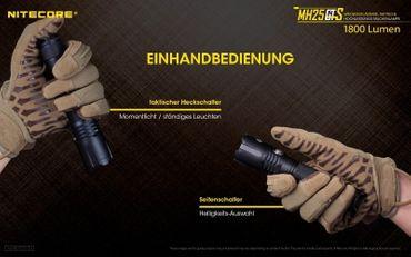 Nitecore Multitask Hybrid MH25GTS mit XHP35 HD LED mit 1800 Lumen – Bild 6