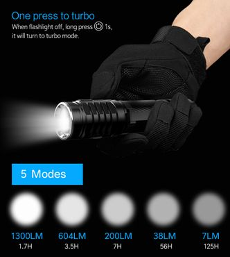 selected-lights Wuben TO46R 3xXP-G3 1300Lumen 5 Modes USB wiederaufladbare LED Taschenlampe – Bild 4