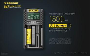 Nitecore UM2 USB 2 Schacht Ladegerät für Li-Ionen Akkus – Bild 4