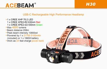 AceBeam H30 Rot/UV - 6500K mit XH-P70.2 CW LED 4000 Lumen