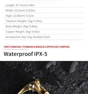 MecArmy CMP2-C Kompass mit Kette aus Kupfer – Bild 3