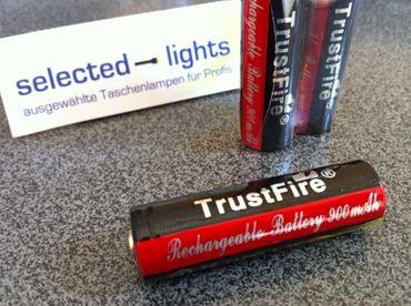 2x Li-Ionen Akku 3,7 V Typ Trustfire 14500 wie Mignon AA Batterie