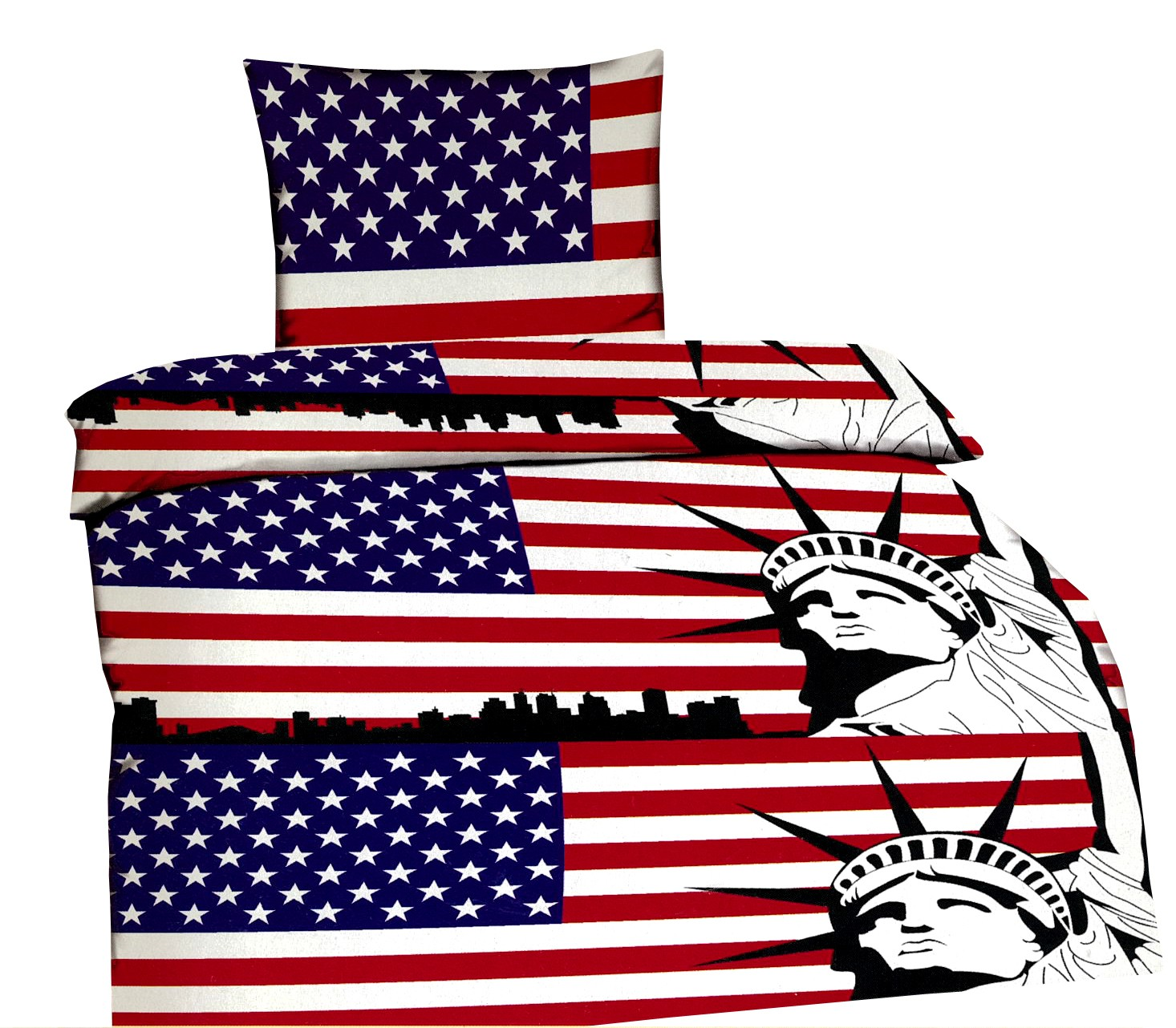 bettw sche 135x200 usa union freiheitsstatue microfaser bettbezug kissen set 4260273004822 ebay. Black Bedroom Furniture Sets. Home Design Ideas