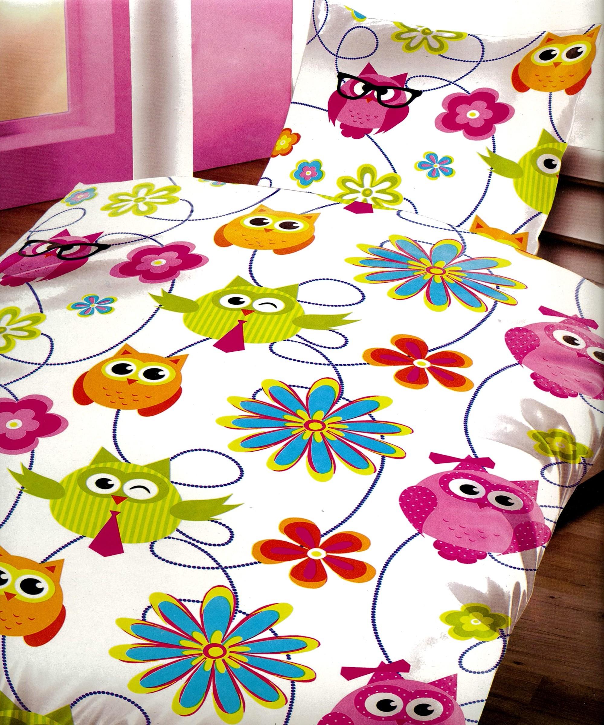 4 tlg bettw sche microfaser 135x200 cm bunte eulen blumen wei garnitur set neu ebay. Black Bedroom Furniture Sets. Home Design Ideas