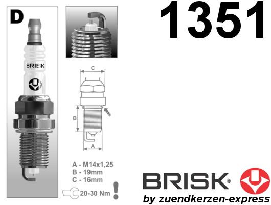BRISK Silver DR17YS 1351 Spark plugs petrol fuel LPG CNG Autogas, 6 pieces