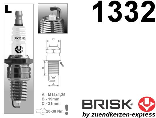 BRISK Silver LR15YS 1332 Spark plugs petrol fuel LPG CNG Autogas, 4 pieces