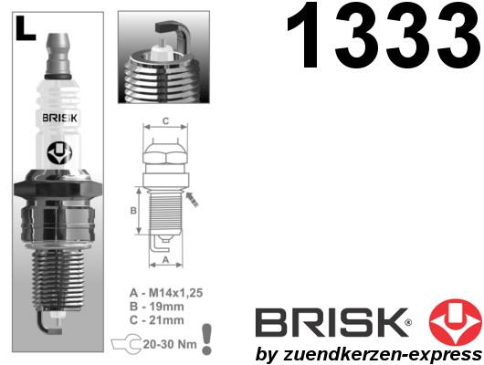 BRISK Silver LR17YS 1333 Spark plugs petrol fuel LPG CNG Autogas, 4 pieces