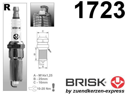 BRISK Silver Racing RR15YS-1 1723 Zündkerzen Benzin LPG GPL CNG Autogas, 4 Stück