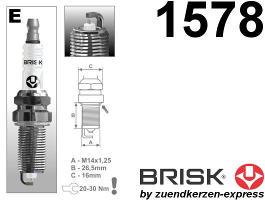 BRISK Silver ER15YS-9 1578 Zündkerzen Benzin LPG GPL CNG Autogas, 6 Stück