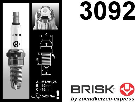 BRISK Premium Racing BOR12LGS 3092 Spark plugs, 8 pieces