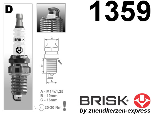 BRISK Super D17YC 1359 Zündkerzen, 6 Stück