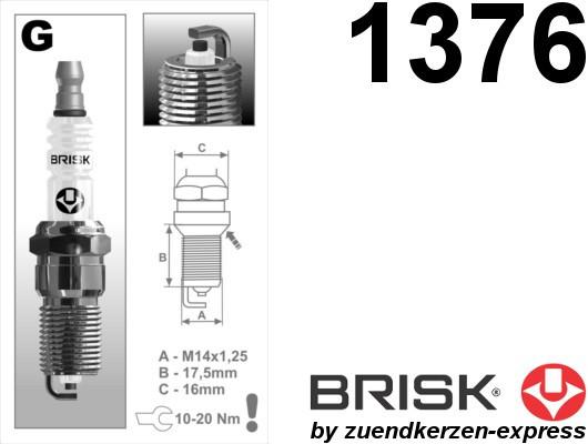 BRISK Super G14YC 1376 Spark plugs, 4 pieces