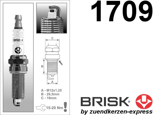 BRISK Super QR15LC-1 1709 Spark plugs, 4 pieces