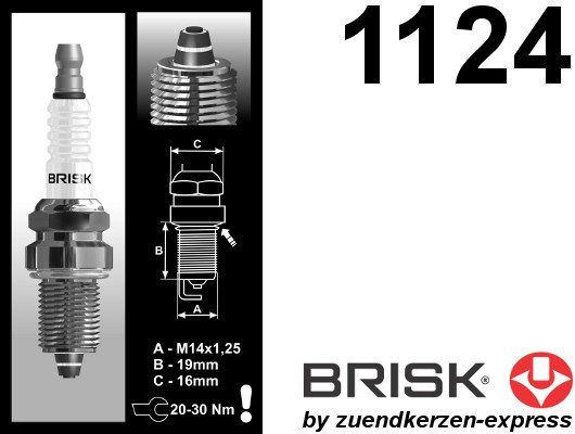 BRISK Premium Racing DR14ZC 1124 Zündkerzen, 4 Stück
