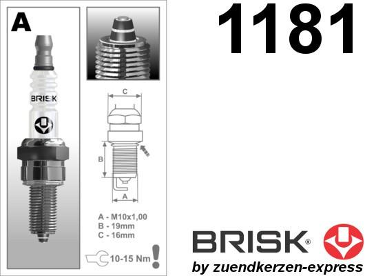 BRISK Premium Racing AR10ZS 1181 Zündkerzen, 2 Stück